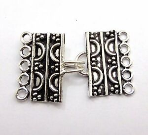 3 Pcs 45x23mm 5 Strand Bali Clasp Toggle Antique Silver Plated B534
