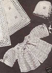 Vintage Crochet PATTERN to make BABY Bonnet Jacket Blanket Set CrochetFlower