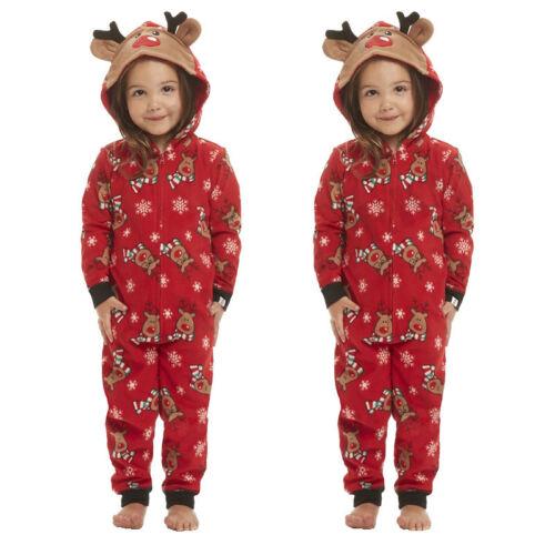 Weihnachten Familie Hoodie Nachtwäsche Schlafanzug Overall Jumpsuit Pyjama Santa