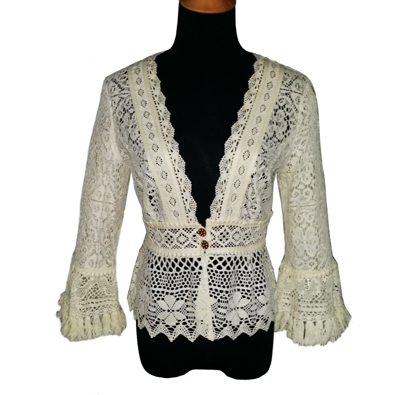 Nanette Lepore  Off Weiß Cotton Lace Top Sz 10