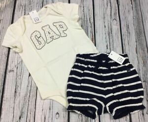 Baby-Gap-Girls-0-3-6-12-18-24-Months-Logo-Shirt-amp-Shorts-Cotton-Outfit-Nwt