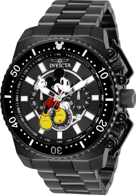 80f8e49de Invicta Men's Disney Quartz Chronograph 100m Black Stainless Steel Watch  27286