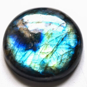 Cts-43-35-Natural-Spectrolite-blue-Labradorite-Cabochon-Round-Loose-Gemstone