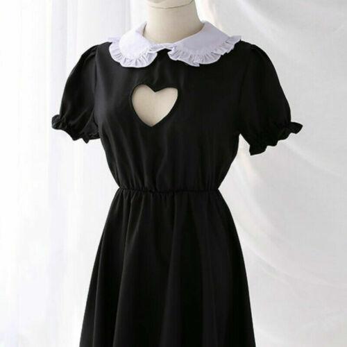 Lady Lolita Waitress Costume Maid Outfit Dress Apron Suit Ruffle Keyhole Cosplay