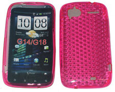 Modello TPU Gel Custodia Cover Rosa per HTC Sensation 4g XE g14 z710e g18 z715e UK