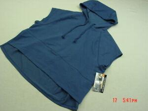 29828e634243eb NWOT NWT Women s Woman Blue Crop Cropped Top Hooded Sweatshirt ...