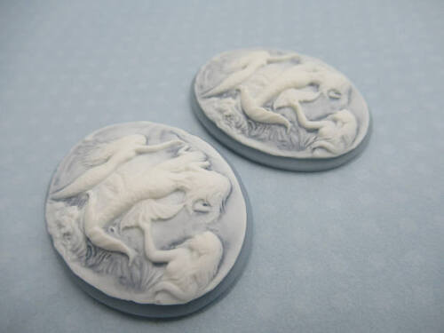 Mermaids Swimming Cameos 40X30mm Oval Cabochons White on Blue Beach Colors 4 pcs
