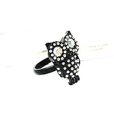 Cute adjustable Korean style silver and black owl ring