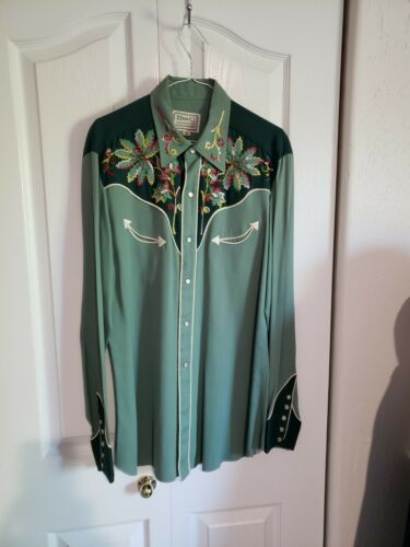 1950s Western Shirt Gabardine Green Medium Rockabi