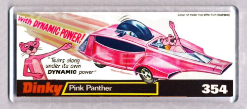 PINK PANTHER CAR toy box art WIDE FRIDGE MAGNET CLASSIC TOY MEMORIES!