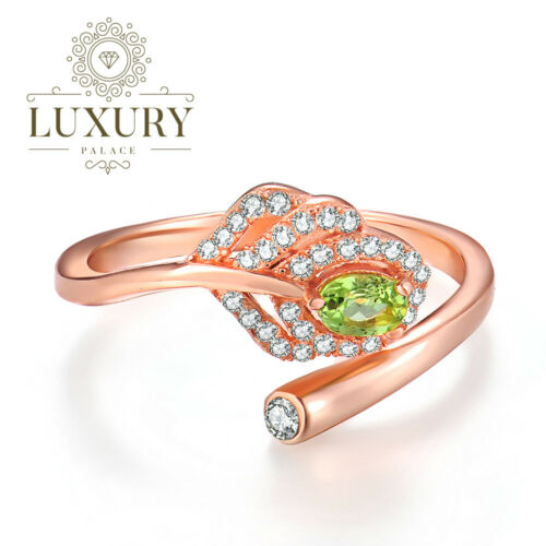 Natural Peridot 14K Rose Gold Plated Adjustable 925 Sterling Silver Leaf Ring
