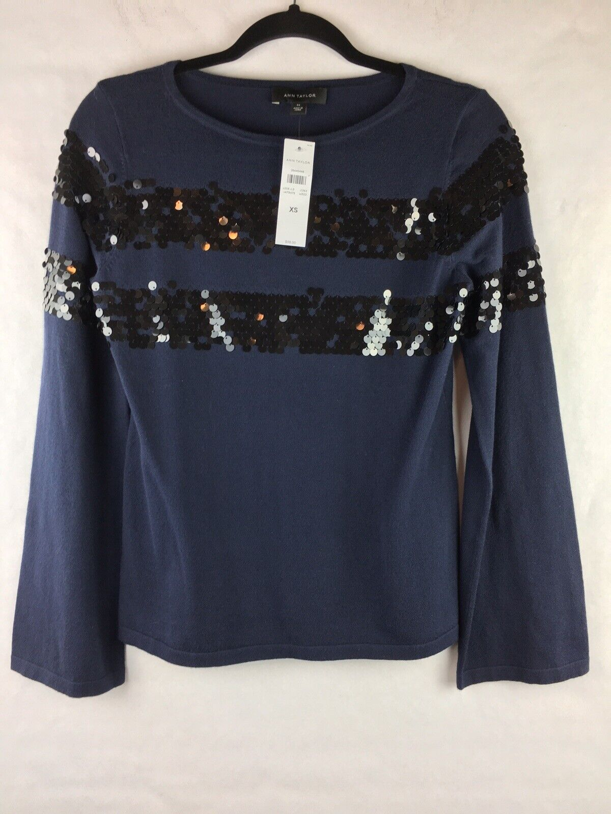 New With Tags  Ann Taylor Women's Size XS Sweater Sequins Lightweight bluee
