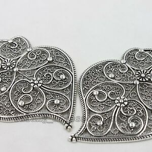 2x-New-Nice-Design-Antique-Silver-Heart-Hollow-Pattern-Pendant-Findings-L