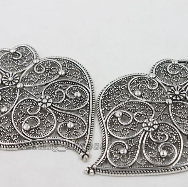 2x  New Nice Design Antique Silver Heart Hollow Pattern Pendant Findings L