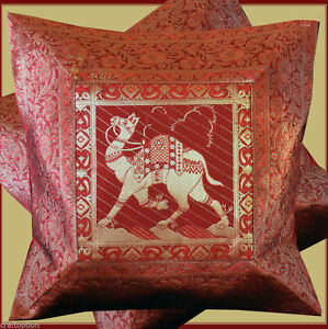 PAIR-TWO-OF-SILK-BROCADE-PILLOW-CUSHION-COVER-RED-GOLDEN-COLOR-FROM-INDIA