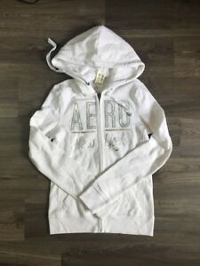 Aeropostale White Hoodie Silver Sequin Size XS Extra Small A307