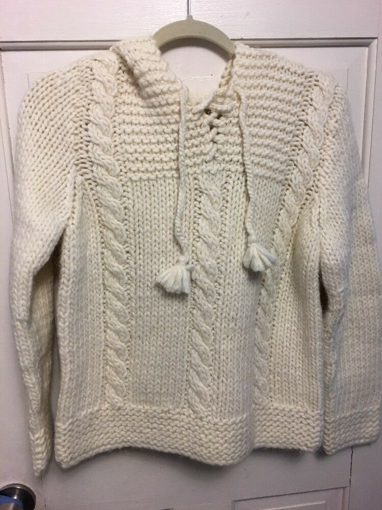 Madewell Nwt Ivory Hand Knit Hoodie Small