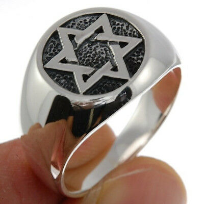 Star of David Mens Silver Ring, Mix US Sizes, (12.48g) Plain Solid Silver, rp198