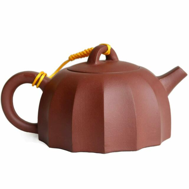 """6.5/"""" Chinese Yixing Zisha Purple Clay 140cc Handmade Conch Pattern Gongfu Teapot"""