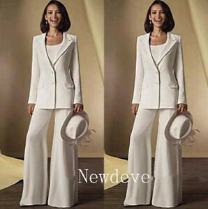 Details about White Pants Suit Mother of the Bride Dress Formal Gowns  Evening Plus Size 10 +
