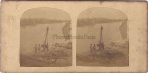Transaport A Bord Da L Acqua Scena Genere Foto Stereo Vintage Albumina Ca 1865