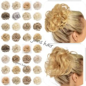 Koko-Large-Hair-Scrunchie-Wrap-Curly-Wavy-Messy-Updo-Hairpiece-Blonde-Natural
