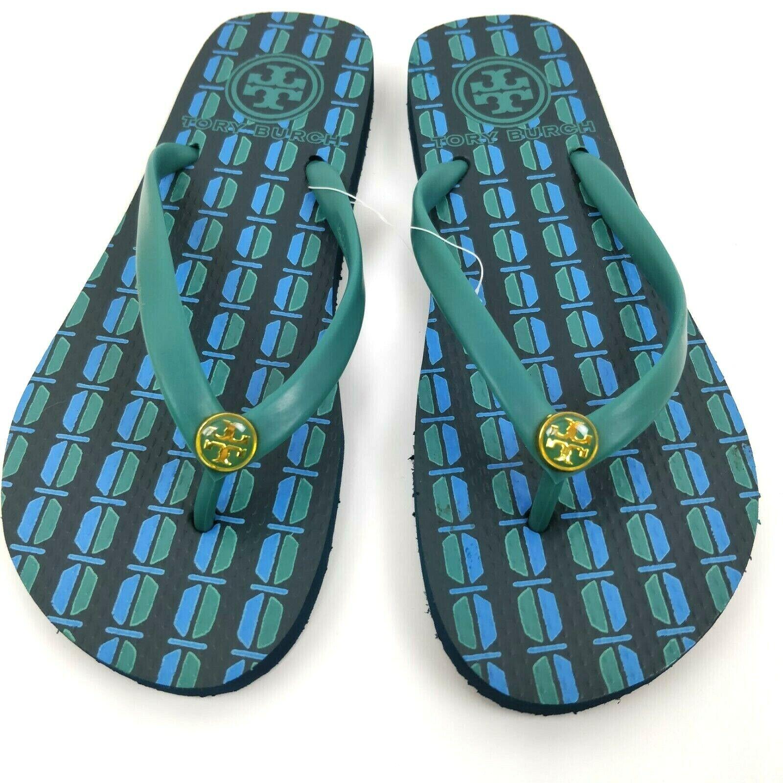 TORY BURCH Size 6 - 6.5 Basic Rubber Flip Flops Thongs Sandals gold Logo New