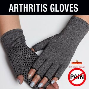 1-Pair-Anti-Arthritis-Gloves-Half-Hand-Support-Pain-Relief-Finger-Compression-BK