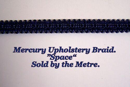 "sold by the Metre Dark Blue Upholstery Braid /""Mercury Space/"" 15mm wide"
