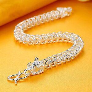 Fine-Pure-S999-Sterling-Silver-Bangle-Men-Square-Dragon-Head-Chain-Bracelet