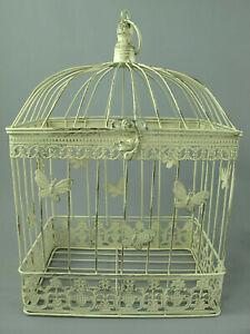 Antico Decorazione Gabbia per Uccelli IN Metallo Piante Fiori Shabby-Chic (G