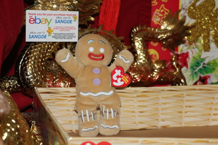 TY BEANIE GINGY THE GINGERBREAD MAN FROM  SHREK THE HALLS   MOVIE-5 -2008-MWNMT
