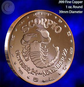 "/""Scorpio/"" 1 oz Copper Round /"" Horoscope Series /"""