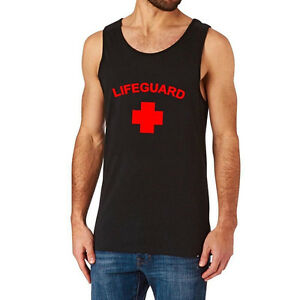 fab759810696e3 Loo Show Mens Lifeguard T-shirt Red or White YMCA Pool Staff Tank ...