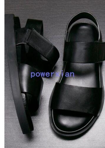 Uk Beach Mens Mens nuova pelle moto Sandali moda Flats Shoes in Sz estivi Oq0ndRPxw0