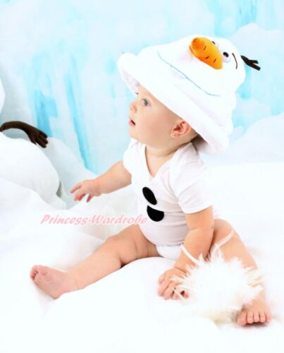 Snowman Olaf White Baby One Piece Bodysuit Jumpsuit Warm Hat Costume Set NB-12M