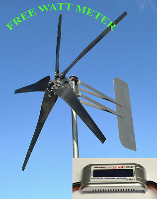 Wind generator turbine 5 Blade 1685W 24 volt AC 3 wire 6.3 kWh WATT METER//ROLLER