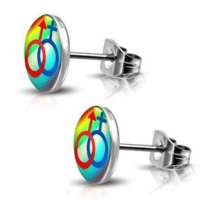 Ohrstecker-Rainbow-Bunt-aus-Edelstahl-Unisex-Regenbogen-Damen-Herren-LGBT-Gay
