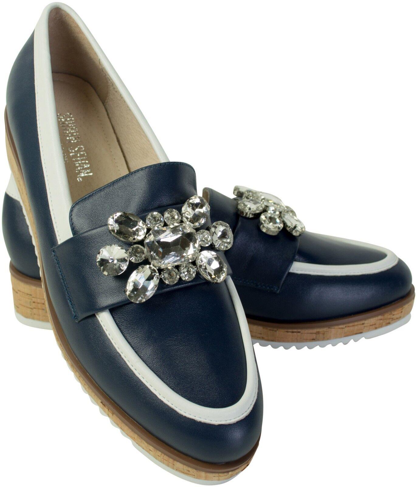 Kristallverzierte plataforma Slipper Navy azul oscuro Platform loafer loafer loafer Crystal noble  salida de fábrica