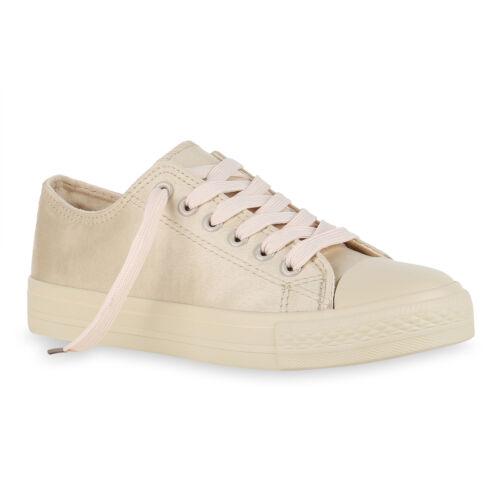 Damen Sneaker Low Basic Canvas Turnschuhe Schnürer Freizeit 825888 Schuhe