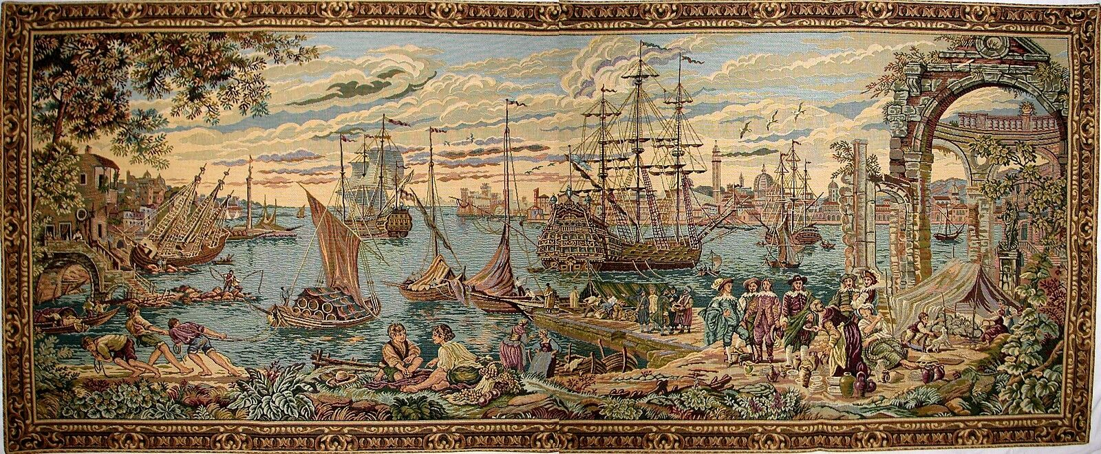 NAUTICAL VENICE HARBOUR TAPESTRY WALL HANGING 64  X 27