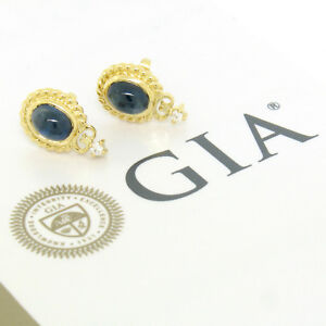 FINE-18K-Gold-3-30ctw-GIA-Cabochon-Sapphire-amp-Diamond-Cable-Frame-Stud-Earrings