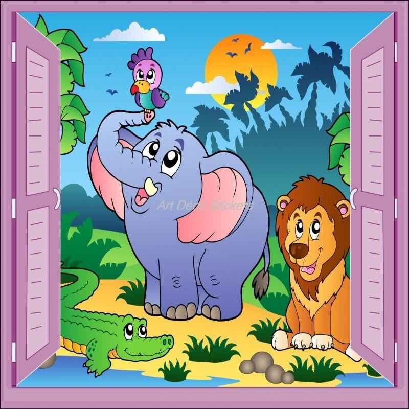 Aufkleber Kind Fenster Schein Auge Elefant Löwe Papagei 912