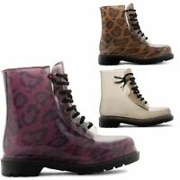 LADIES WOMENS LOW HEEL FLAT LACE UP BIKER ARMY MILITARY COMBAT ANKLE BOOTS SIZE