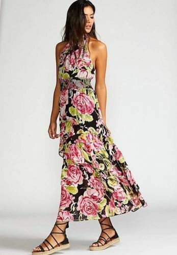 300 NWT FREE PEOPLE FULL BLOOM HALTER TIERED FLORAL MAXI DRESS SIZE MEDIUM