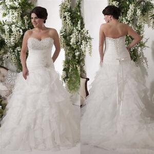A line white ivory plus size organza bridal gown wedding for Plus size wedding dresses size 28