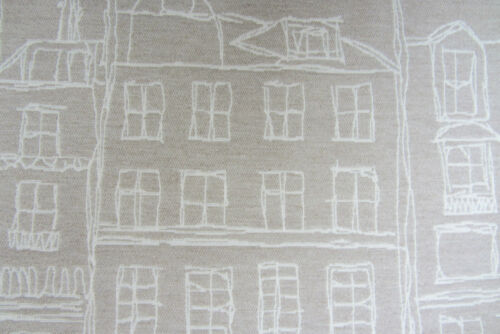 City Facades linen Jacquard  Curtain//Upholstery //Craft Fabric