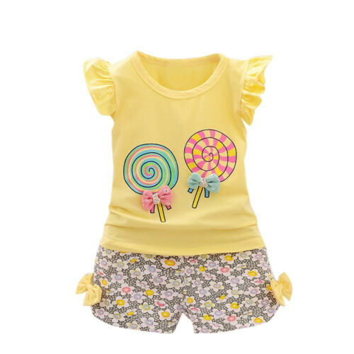 2PCS Toddler Kids Girls Outfits Lolly T-shirt Tops+Short Pants Clothes Set PIG