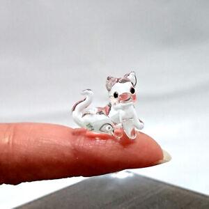 Rare Dog Tiny Micro Figurine Hand Blown Clear Glass Pet Lover Animal Gift Decor