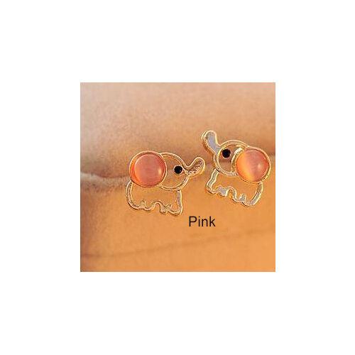 Q-Teen Cute Chubby Elephant Pink White Dumbo Earrings Studs Girl Women Gift